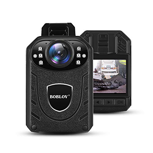 BOBLOV Body Camera 1296P Body Wearable Camera Support Memory Expand Max 128G 8-10Hours Recording Police Body Camera خفيفة الوزن ومحمولة سهلة التشغيل KJ21 (البطاقة غير مدرجة)