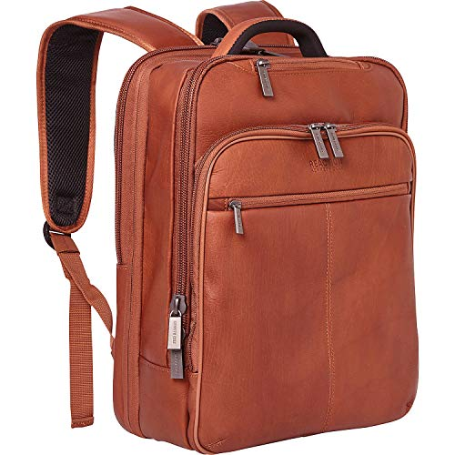 "Kenneth Cole Reaction Manhattan Colombian Leather Slim 16 ""Laptop & Tablet RFID Business Backpack، Cognac، Medium"