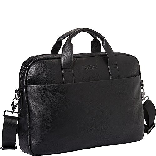 """Kenneth Cole Reaction Modern Dilemma Pebbled Faux Leather 15.6 """"Laptop & Tablet Business Case Bag، Black - Style # 2، One Size"""