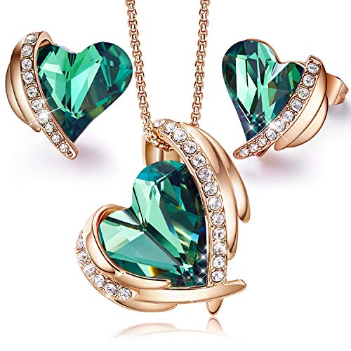 CDE Pink Angel 18K Rose Gold Jewelry Set Women Heart Pendant Necklace and Stud Earrings Sets Birthday