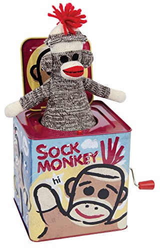 Schylling SC-SMJB Sock Monkey Jack in The Box ، متعدد الألوان ، 1 EA