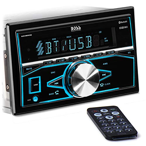 BOSS Audio Systems 820BRGB Multimedia Car Stereo - Double Din ، Bluetooth Audio and Hands-Free Calling ، مشغل MP3 ، منفذ USB ، مدخل AUX ، مستقبل راديو AM / FM ، لا CD / DVD ، إضاءة متعددة الألوان