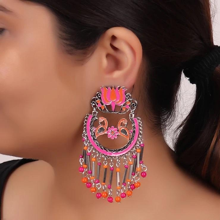 Cippele Oxidised Silver Plated Floral Feathered Bird Design Pink And Orange Color Enamel Painted Dangler Earrings