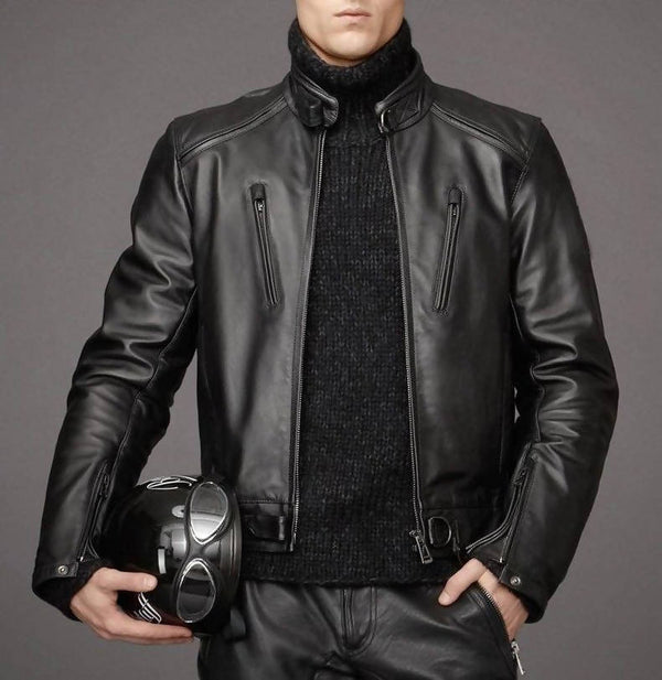 Motorcycle New Genuine Lambskin Leather Jacket Mens Zipper Coat Biker M425