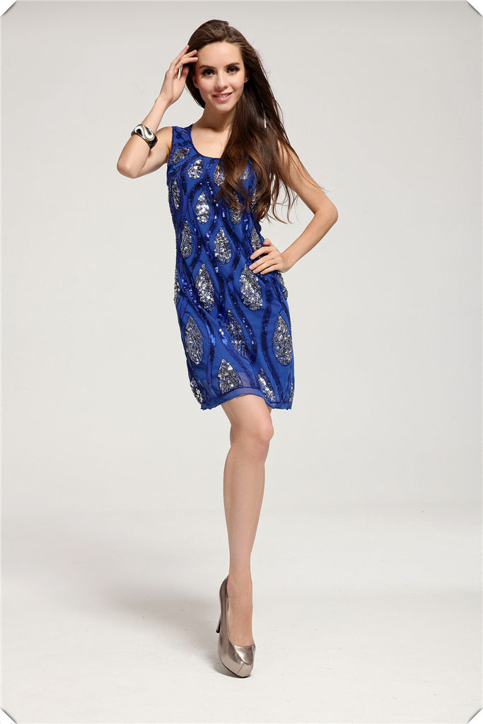 Blue Chiffon Party Dress