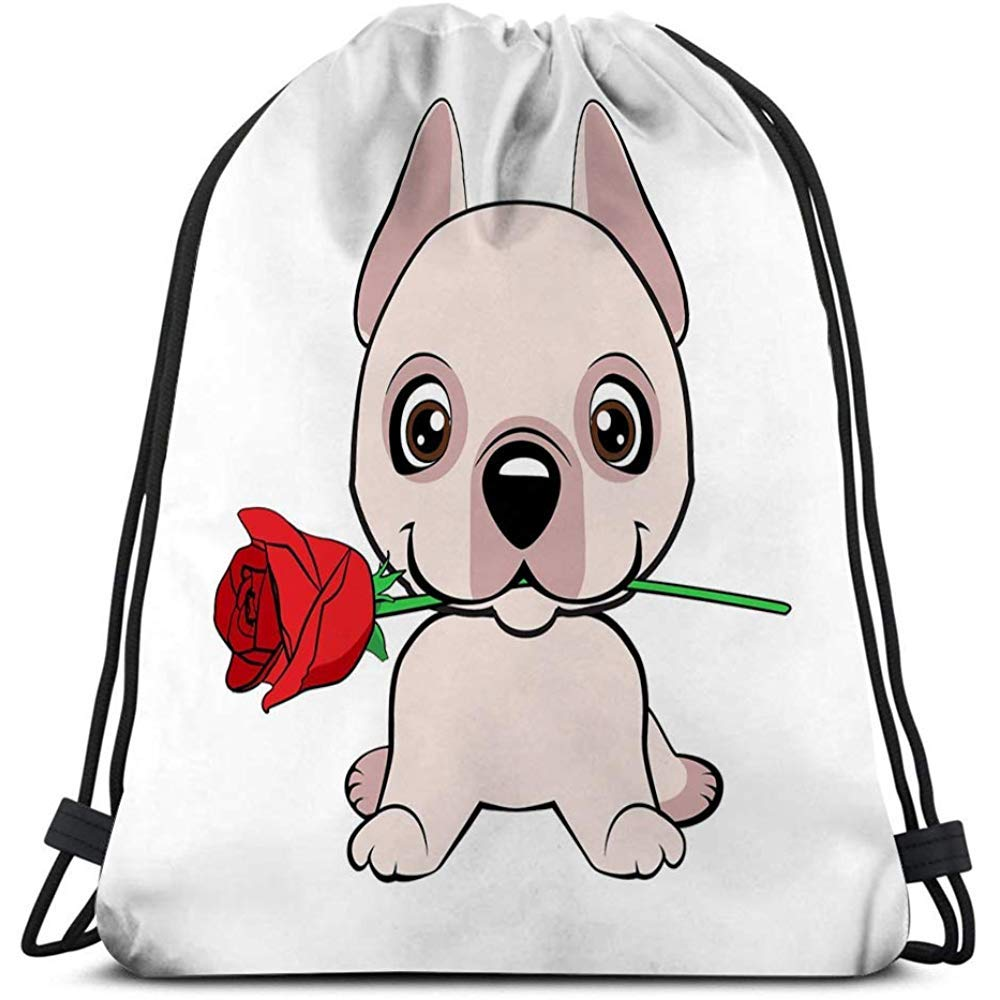 Dingjiakemao Sackpack,Drawstring Backpack Sports Gym Bag For Women Men Dogo Argentino Dog Sitting Flat Cute Puppy Flower Cartoon Hand Drawn Can Be Used