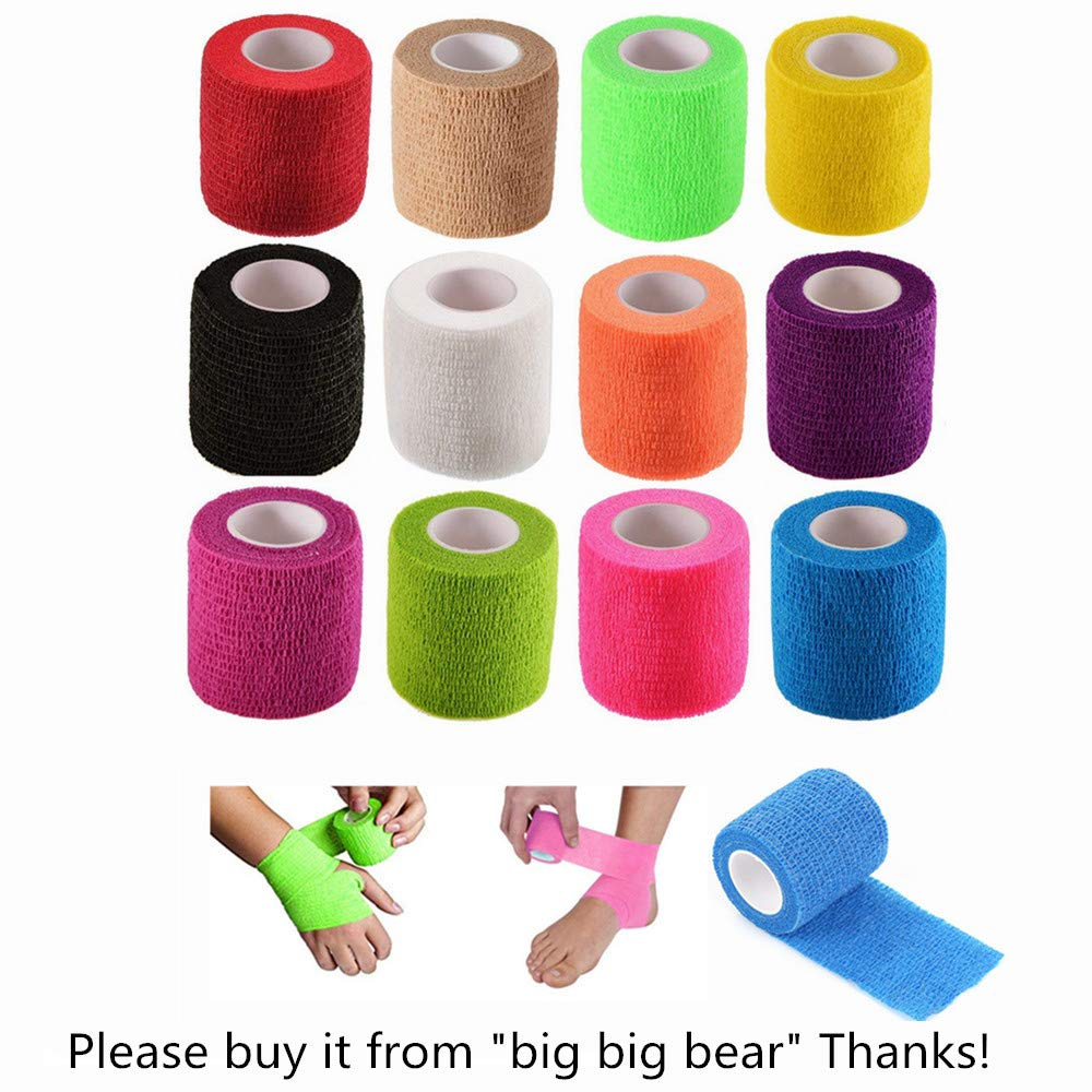 12 Pack Self Adhesive Bandage Wrap Vet Wrap for Pets, Stretch Self Adherent Tape for Athletic, Sports, Wrist and Ankle(2 Inches x 5 Yards Each, 12 Colors)