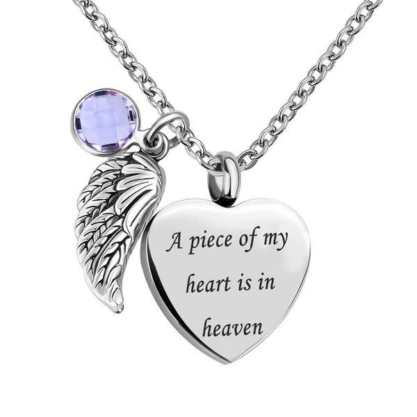 Cremation Jewellery Urn Necklace for Ashes Memorial Keepsake Angel Wing - A Piece of My Heart is in Heaven Pendant