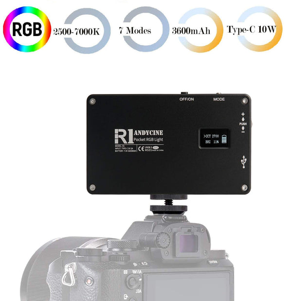 ANDYCINE R1 Pocket Led Video Light, TYPE-C USB Camera Light with 360 RGB,Aluminum Body 192 LED 2500K-7000K CRI97,7 Light modes for Portraits Micro Film Studio photography