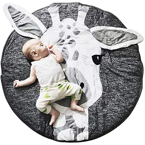 JYCRA Round Rug Cartoon Animal Carpet,Baby Cotton Crawling Mats Game Blanket Floor Play Mat for Bedroom Living Room Children's Room Decoration size Diameter 90CM (Giraffe)