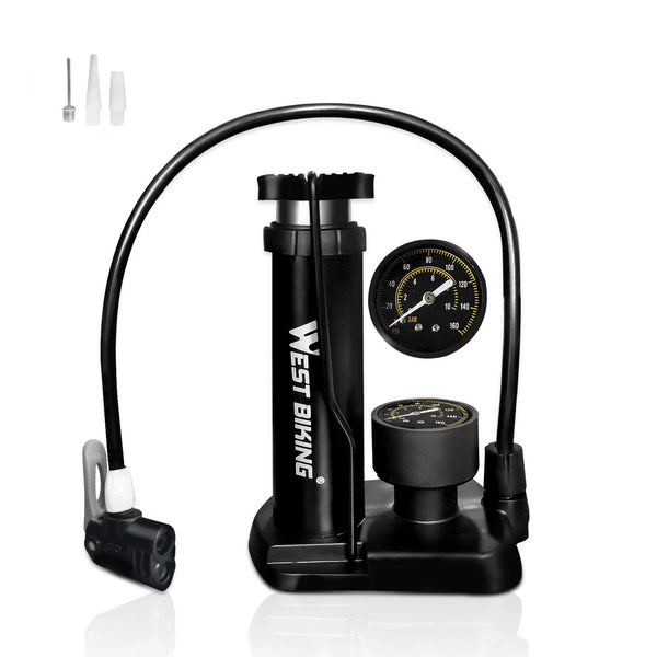 HEKIWAY Bike Pump, Bike Pedal light pump with pressure gauge, suitable for all bicycle tires, suitable Presta and Schrader valves, single motorcycle tire, air cushion, ball