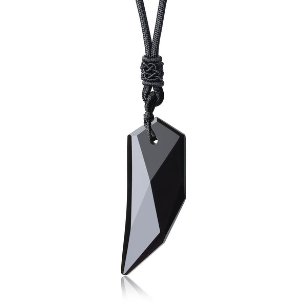 COAI Mens Womens Wolf Tooth Obsidian Stone Pendant Necklace