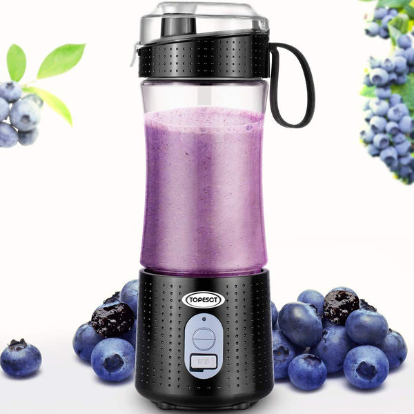 TOPESCT Portable Blender, Personal Mixer Fruit Rechargeable with USB, Mini Blender for Smoothie, Fruit Juice, Milk Shakes 380ml, Six 3D Blades for Great Mixing (Black)