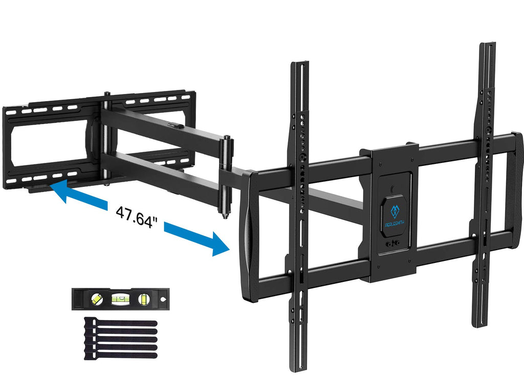 PERLESMITH Full Motion TV Wall Mount for 37-85 Inch LED LCD OLED TVs with 47.64 Inch Long Extension Articulating Arm Max VESA 800x600, Corner TV Bracket Swivel Rotate Tilt Support TV up to 132lbs