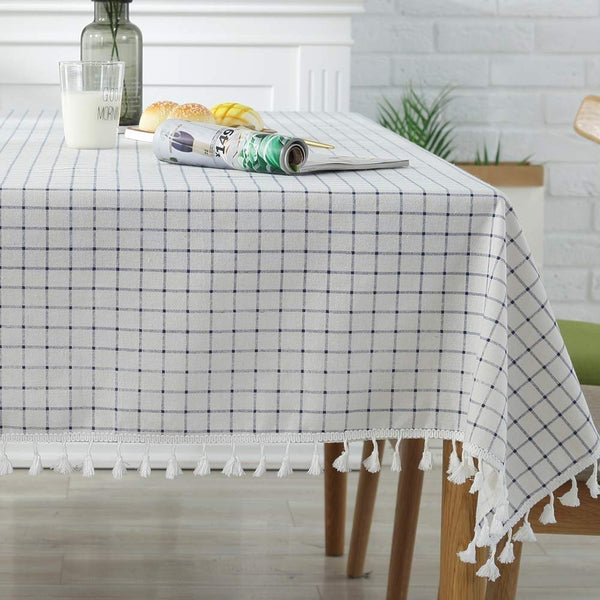 Plenmor Cotton Linen Table Cloth Stripe Tassel Rectangle Tablecloth Dust-Proof Table Cover for Kitchen Dinning Tabletop Decoration (140cm x 180cm, White Plaid)