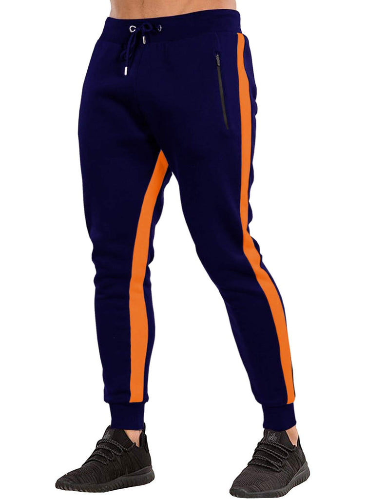 Ouber Men's Gym Jogger Pants Slim Fit Workout Running Sweatpants with Zipper Pockets (M,Navy)