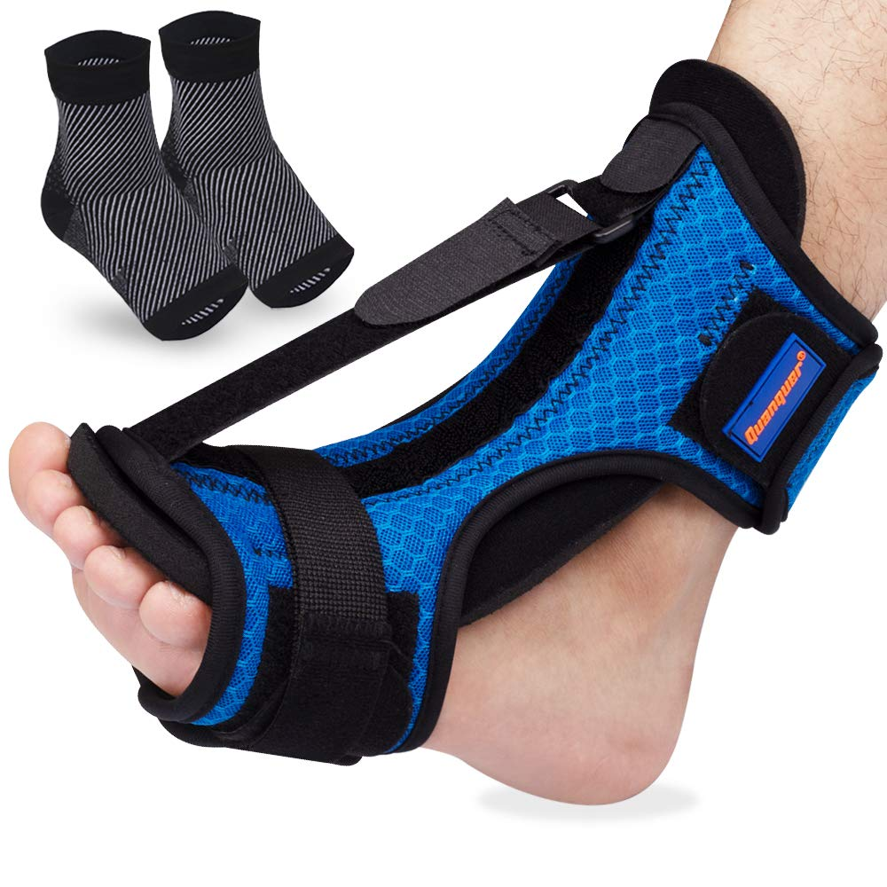 Plantar Fasciitis Night Splint Foot Brace, Dorsal Night Splint for Plantar Fasciitis, Adjustable Plantar Fasciitis Splint Night for Relief Plantar Fasciitis,Heel, Ankle, Arch Foot Pain with Plantar Fasciitis Socks for Women Men