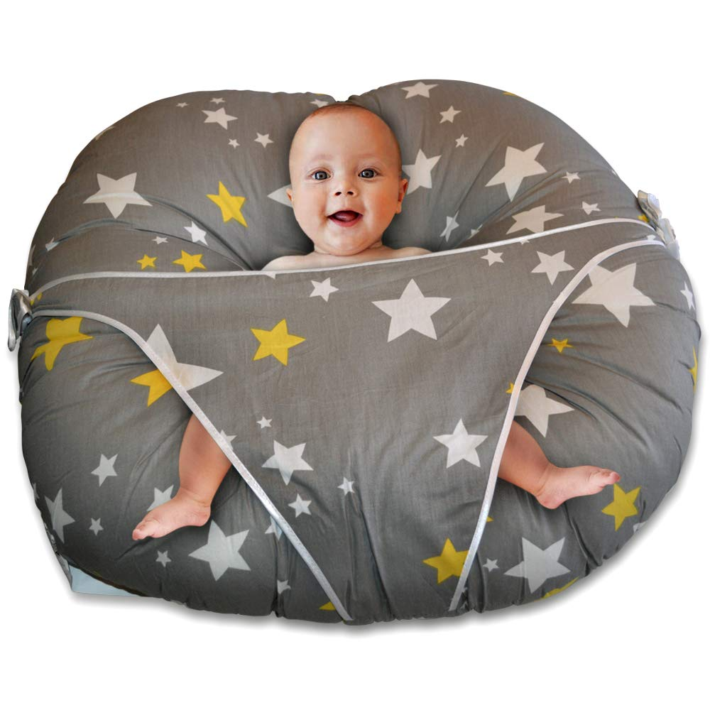 Baby Lounger Pillow-Baby Lounger with Built in Safety Restraint to Keep Your Baby Comfortable & Safe