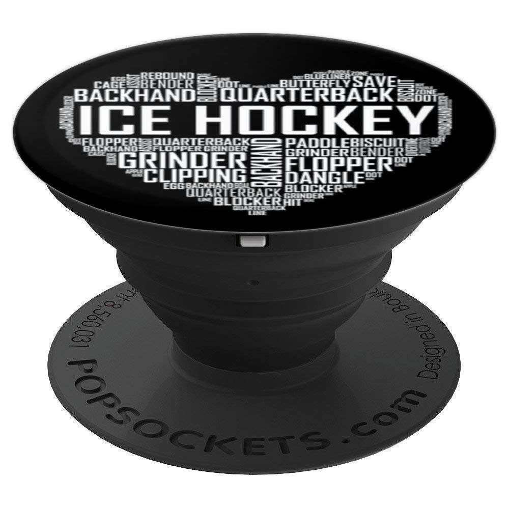 Ice Hockey Love Heart Gift Sports Lover Ice Hockey Socket PopSockets Grip and Stand for Phones and Tablets