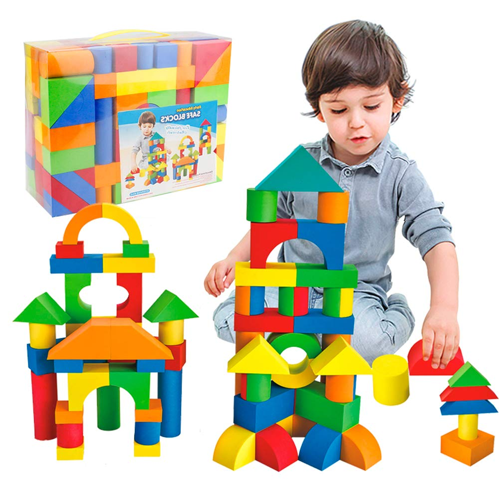 Mini Tudou 137 PCS Foam Blocks for Toddlers, Soft Stacking Building Block Toys Set for Kids, Boys and Girls