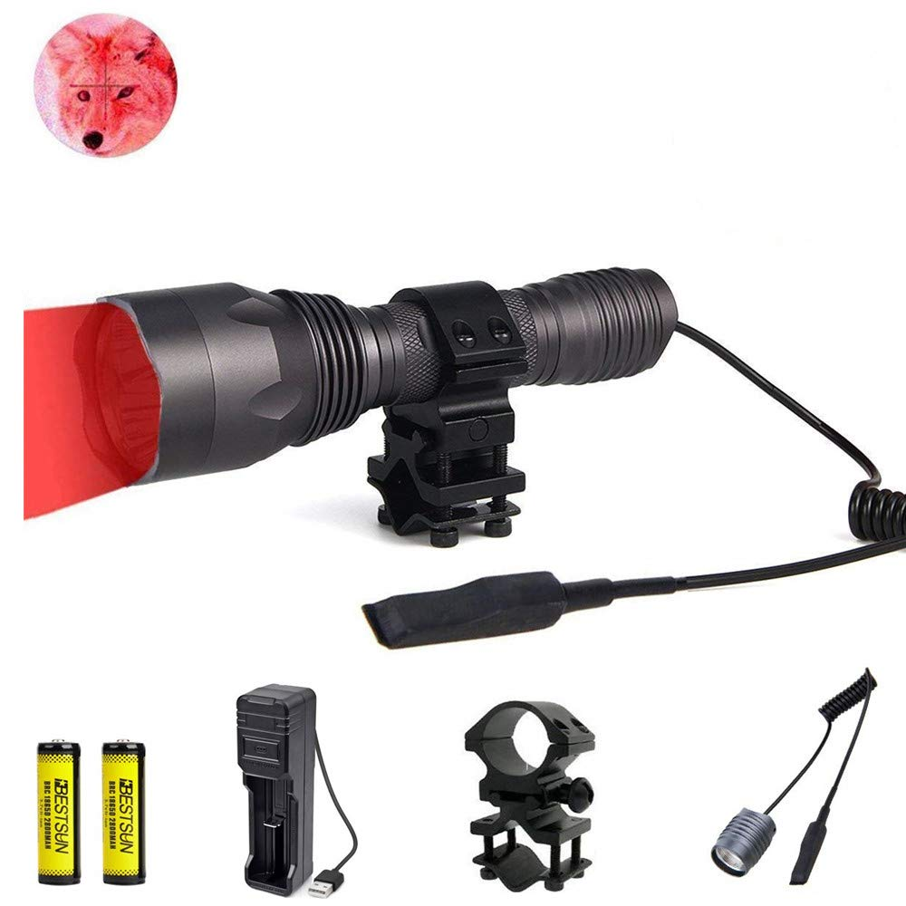 LUXJUMPER Red LED Torch Predator Light 350 ياردة Red Light Coyote Varmints Hunting Tactical Torch ، 1000 Lumens ، مصباح مقاوم للماء مع وسادة ضغط ، حامل برميل بندقية Picatinny
