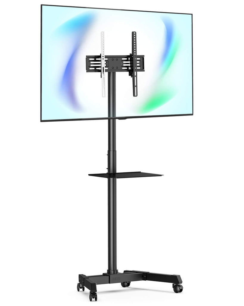 "FITUEYES Mobile TV Cart Display TV Stand with Shelves for 23"" to 55"" Holds 35kgs Tiltable Height Adjustable Max. VESA 400x400mm TC-R12MB"