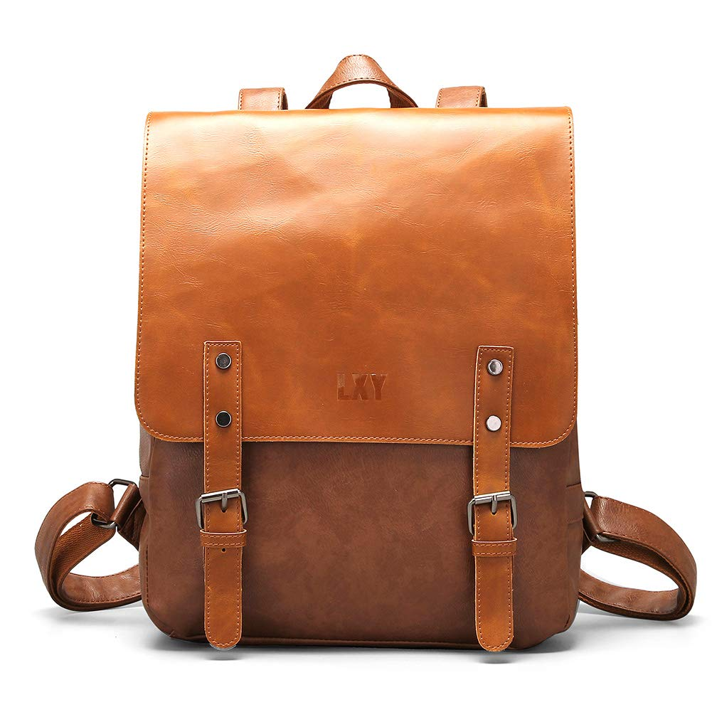 Vegan Leather Backpack Vintage Laptop Bookbag for Women Men - Brown - One Size…