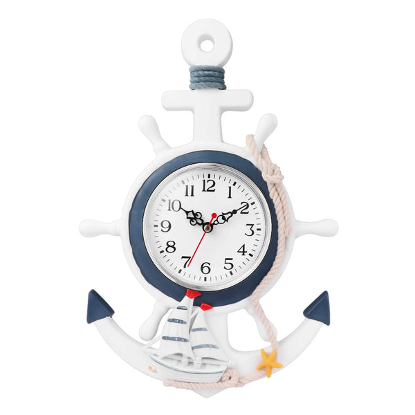 Vosarea Nautical Anchor Clock Fishing Net Sea Theme Wheel Rudder Steering Wall Hanging Clock Ornament For Home Kitchen Bedroom Decoration
