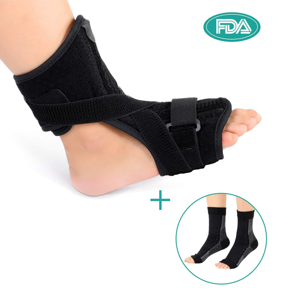 Plantar Fasciitis Night Splint, Orthotic Drop Foot Support Strength Brace with A Pair Compression Socks for Effective Relief from Achilles Tendon and Heel Spur Relief, Fits Left or Right Foot