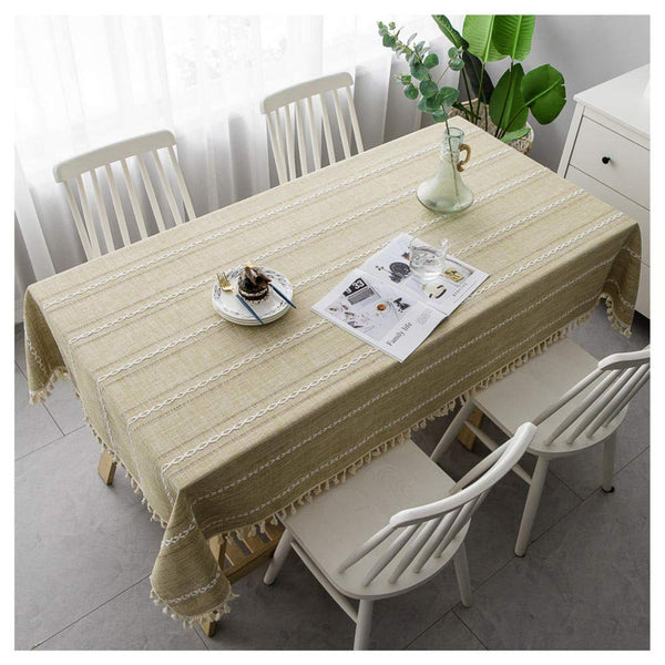 WXWYGNY Cotton Linen Decoration Tablecloth, 130x200cm, Yellow Washable Rectangle Table Cloth with Tassel, Dust-Proof Table Cover for Kitchen Dining Restaurant Room