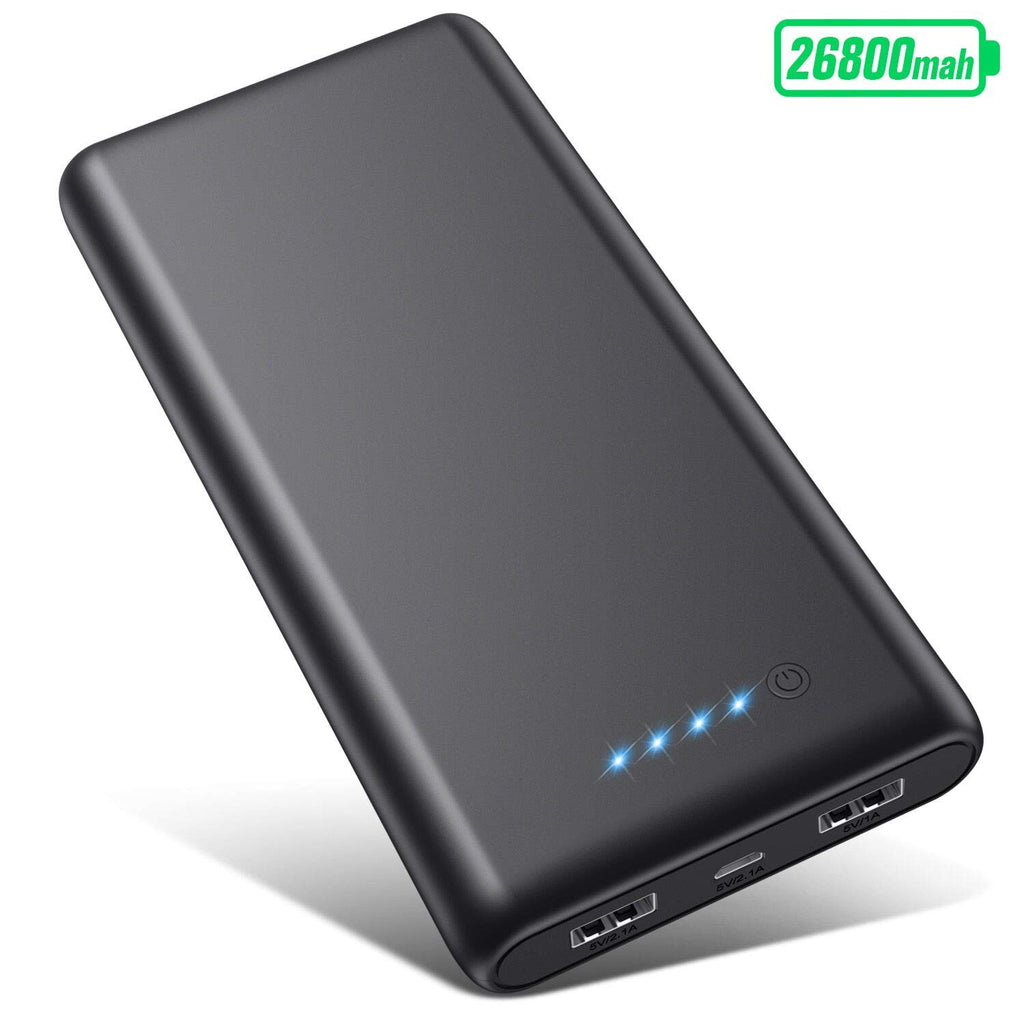 VOOEE Power Bank, ?26800mAh Updated Version? Portable Charger High Capacity External Battery Pack with Dual USB Output Quick Charging Portable Phone Charger for Smart Phones Tablets and More (Black)