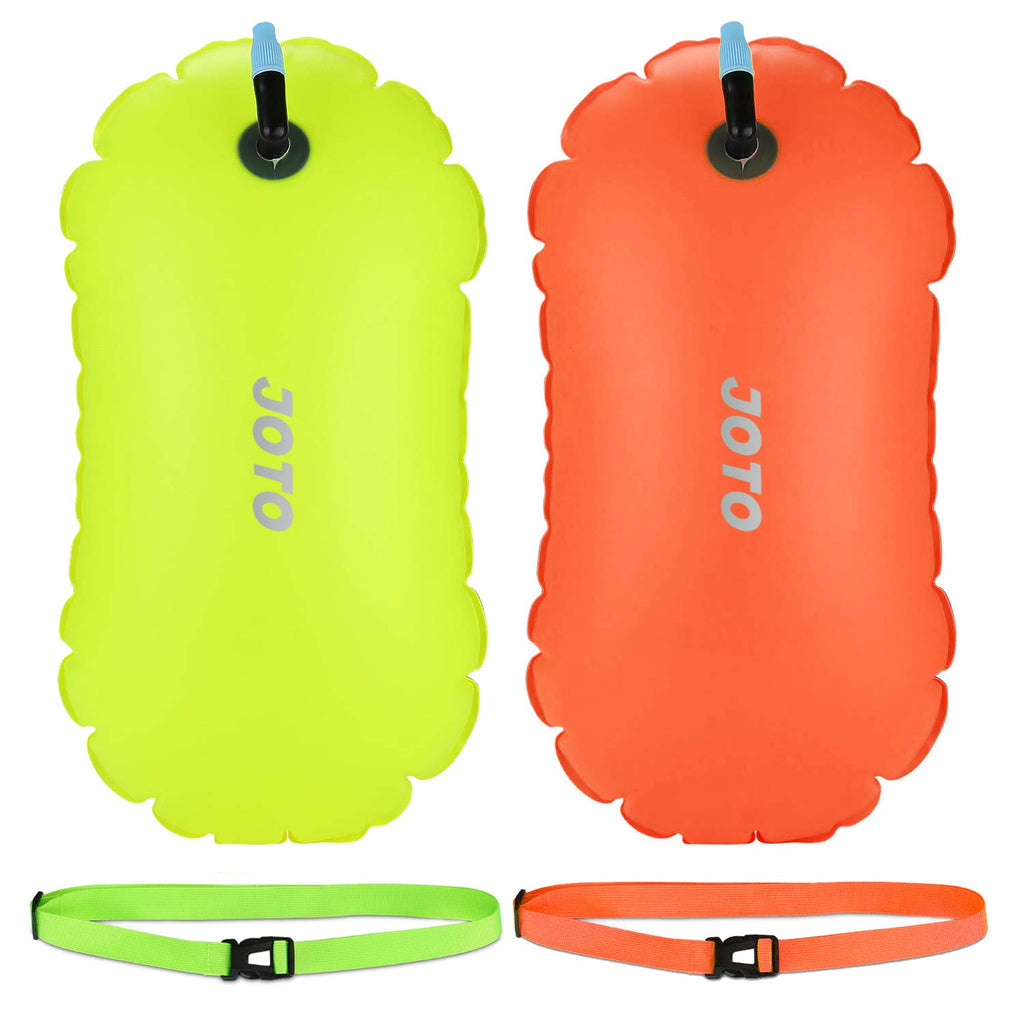 JOTO [2 Pack] Swim Buoy, Highly Visible Swim Bubble Safety Buoy Tow Float, with Adjustable Waist Belt, for Open Water Swimmers Triathletes Kayakers Snorkelers Safe Swim Training