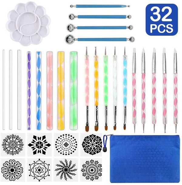 Latocos 32 Pcs Mandala Dotting Tools Art Painting Tools Set Dotting Painting Tools Mandala Stencil Kit Brushes Paint Tray for Painting Rocks Coloring Drawing and Drafting Art Supplies