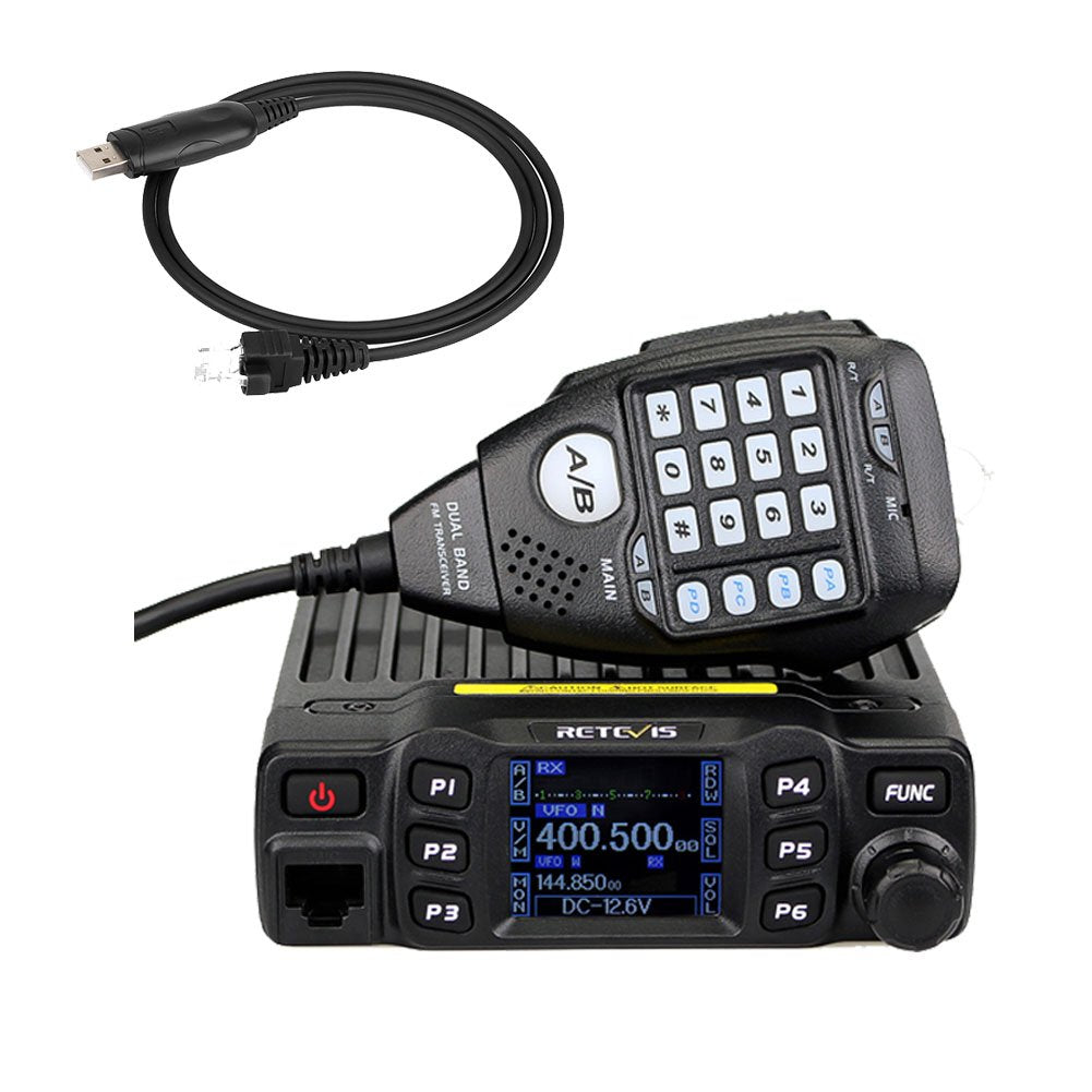 Retevis RT95 Mobile Transceiver Dual Band 200 Channels 5W/15W/25W CTCSS/DCS DTMF 5Tone LCD Display 180 Degree Rotatable Mobile Two Way Radio with Microphone (Black)