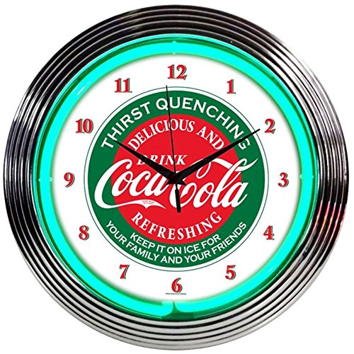 Neonetics Drinks Coca Cola Evergreen Neon ساعة حائط ، 15 ""