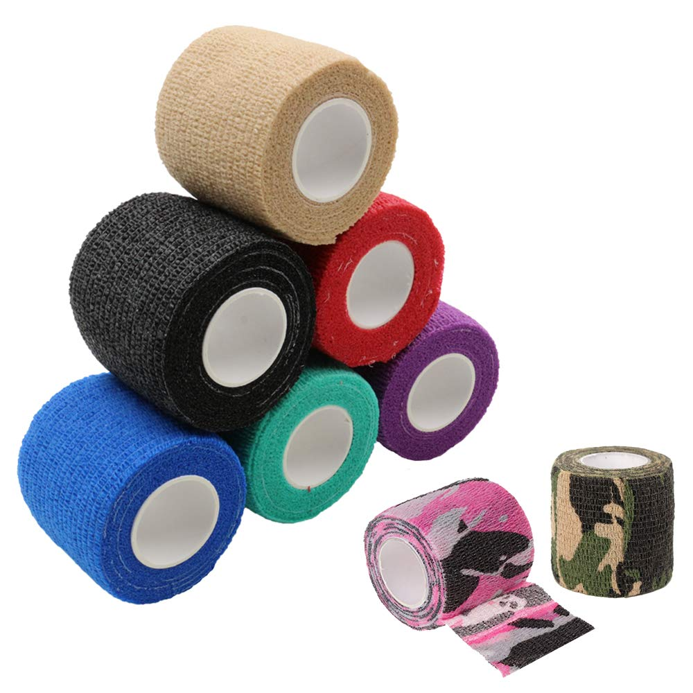 "Tattoo Grip Cover Tape - Tazay 8pcs 2""x 5 Yards Mix Color Cohesive Tattoo Grip Cover Wrap Self Adhesive Wrap, Elastic Bandage Tape, Sports Bandage For Tattoo Supplies"