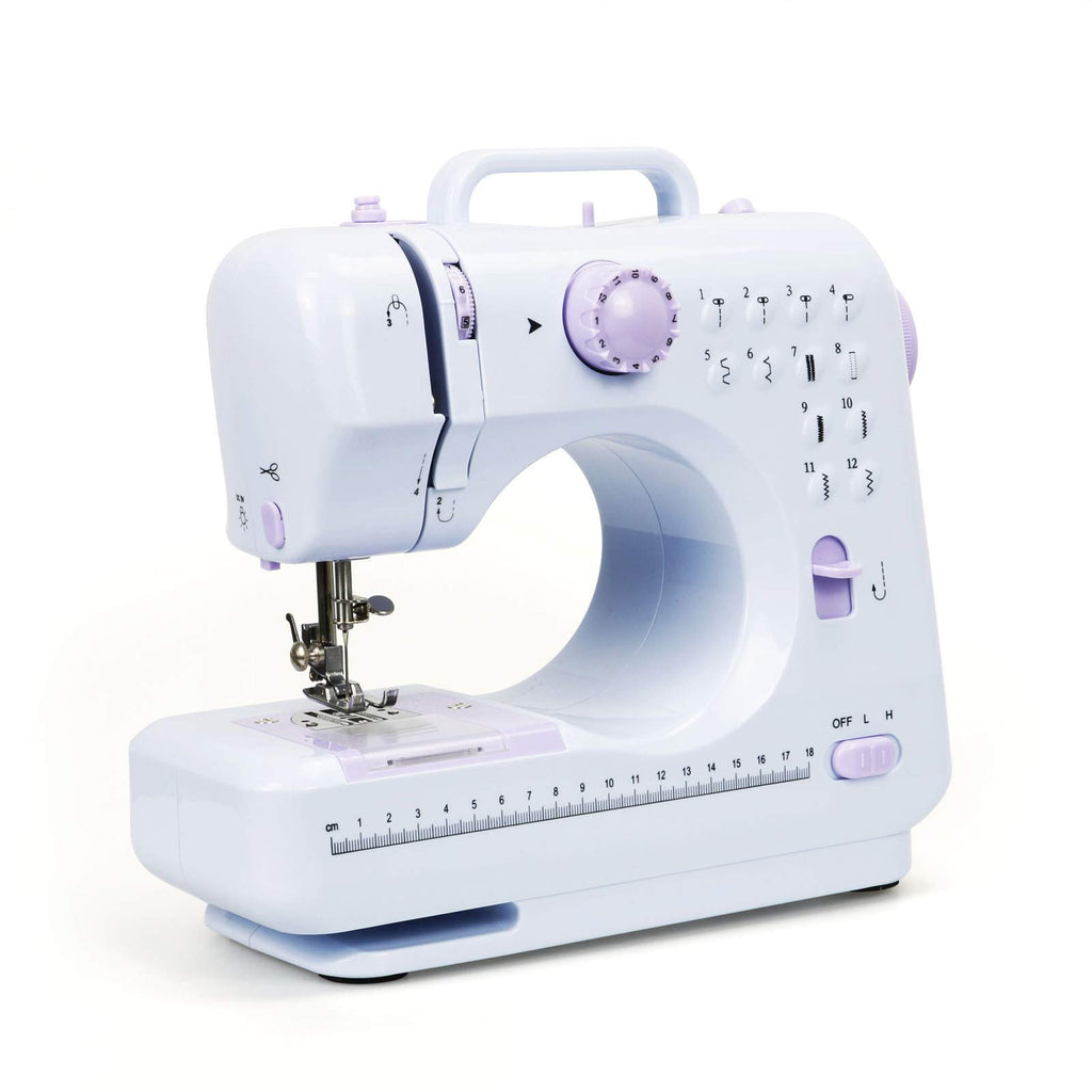 KOTONAMI Sewing Machine, Mini Sewing Machine Portable with LED Light Replaceable Foot Pedal Double Speed Control, 12 Stitch Patterns Lightweight Household Small Machine for Sew Cushions Zipper Crafts