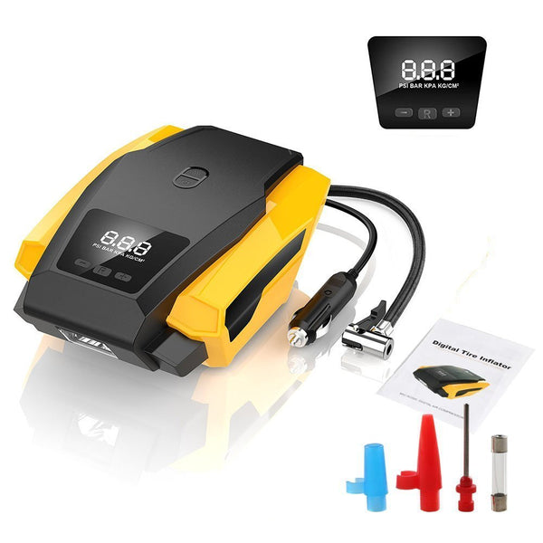 SEEYC Digital Tyre Inflator 12V 120W 150PSI Air Compressor Tyre Pump with Larger Air Flow 40L/Min, Updated Digital Display, LED Light, for Cars/Bikes/Airbeds/Motorcyclesand Others