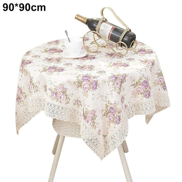 Vintage Flower Printed Tablecloth,Home Hotel Coffee Dining Table Covers, Dining Center Table Decoration Round Square Rectangle Table Cloth for Wedding Baby shower Birthday Party Prop Supplies
