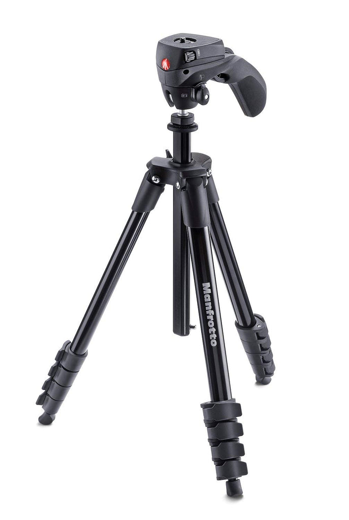 Manfrotto MKCOMPACTACN-BK, Compact Action Aluminium Tripod with Hybrid Head, for Entry-Level, DSLR Camera, Mirrorless, Compact System Camera, Payload 1.5 kg, Black