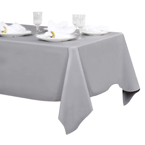 LuoluoHouse 60x102 Inch Polyester Gray Tablecloth Dining Rectangle Table Cloths Water Resistant Table Linens
