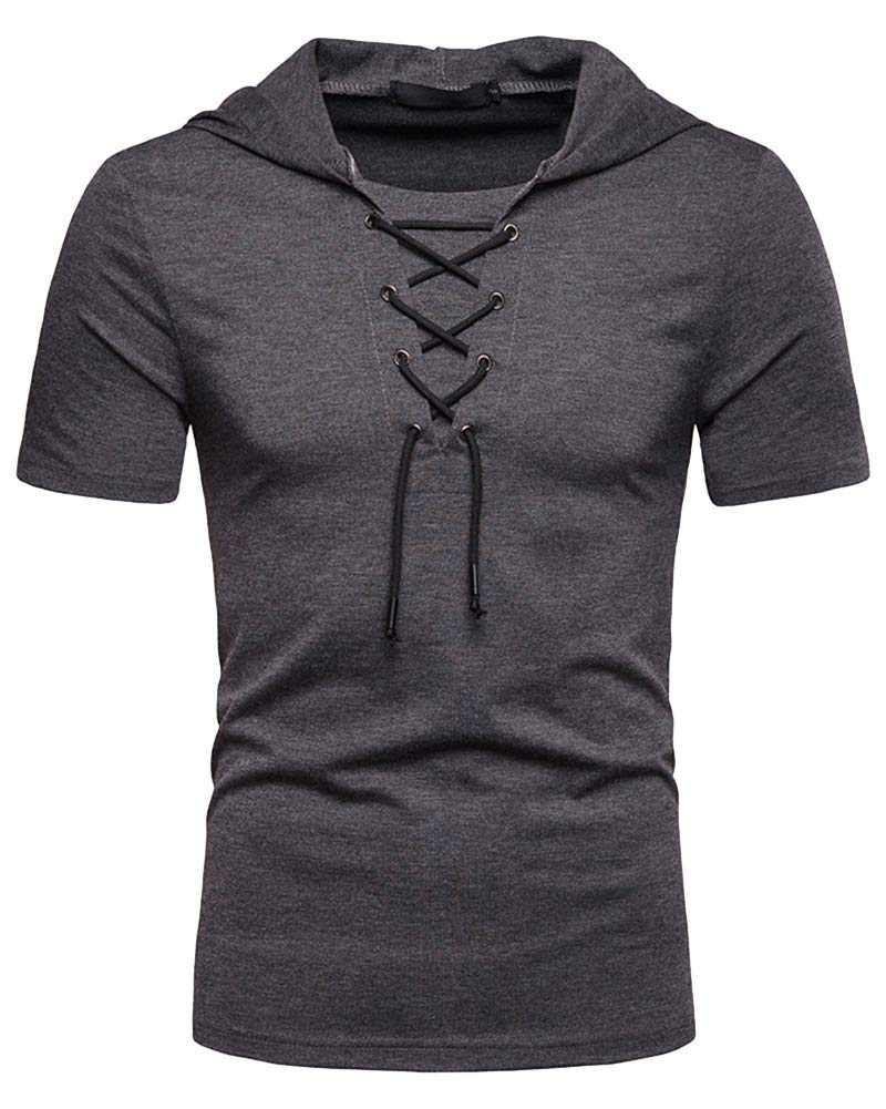 Mens Fashion Short Sleeve Hooded - Casual Solid Color Pullover T Shirts Summer Tops Dark grey  SMALL