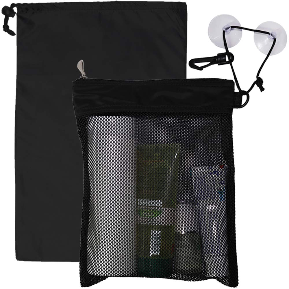 Waterproof Multifunctional Toiletry Shower Bag for Gym, Travel, Business and Foldable Portable Hanging Bathroom Mesh Caddy with Wet & Dry Storage Suction Hook Tote for Men Women