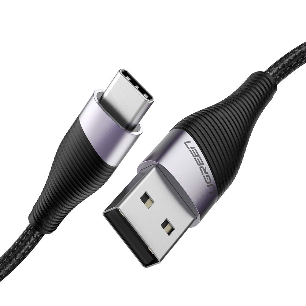 UGREEN USB C Cable 3A Fast Charging Cable Nylon Braided USB Type C Charger متوافق مع Huawei P20 Lite Mate 20 Pro P20 Samsung S10 Plus S9 S8 Note 9 LG G5 G6 Xiaomi Mi A2 Mi 9 إلخ - 1 متر