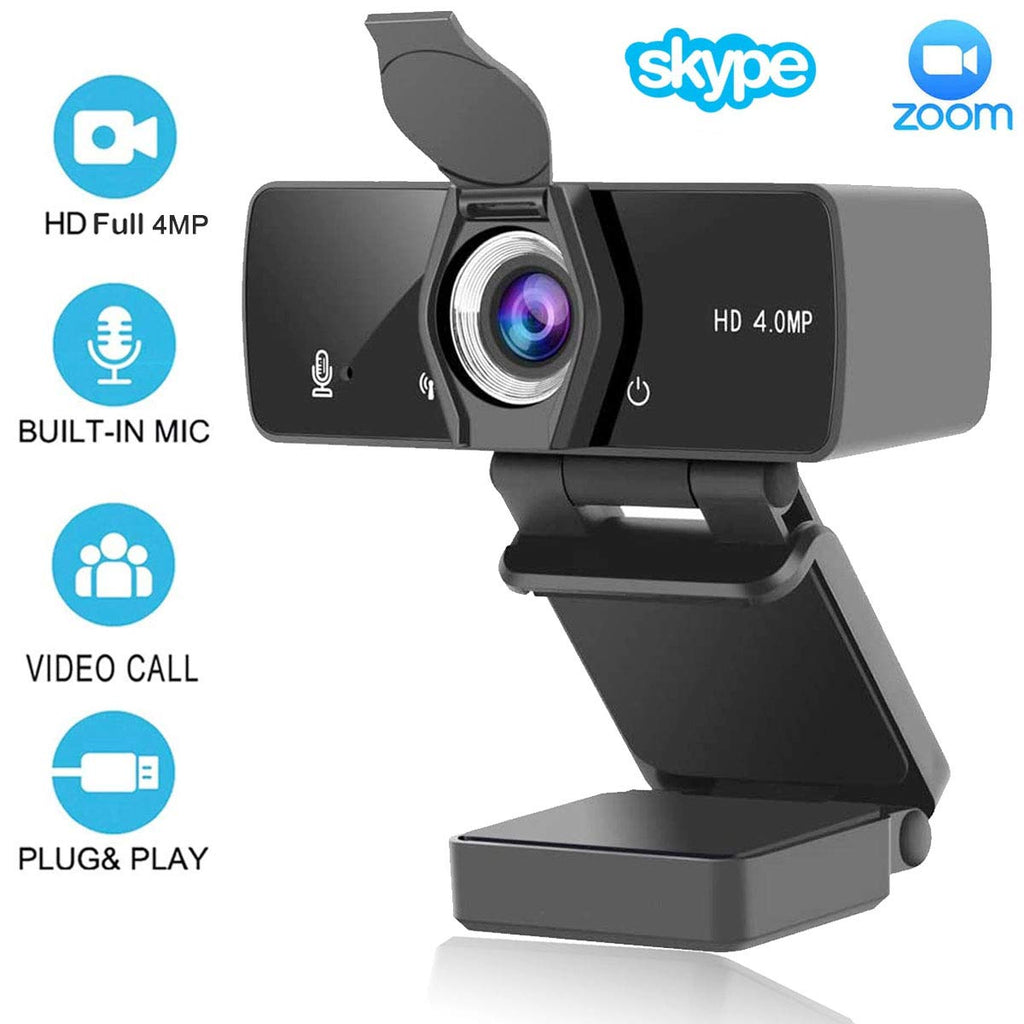 HD Webcam 2K/4MP/1440P (With Privacy Shutter), USB Plug And Play (Built-In Dual Microphones) For Pc Mac, Desktop Computer, Used For Conferences, Video Calls, Youtube, Live Broadcast (Upgraded Version)