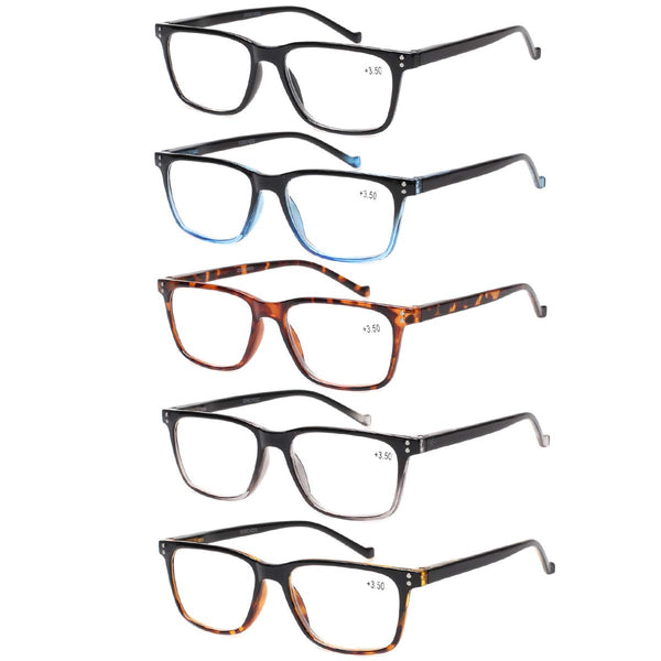5 Pack Reading Glasses Men Women Spring Hinges Comfortable Glasses for Reading