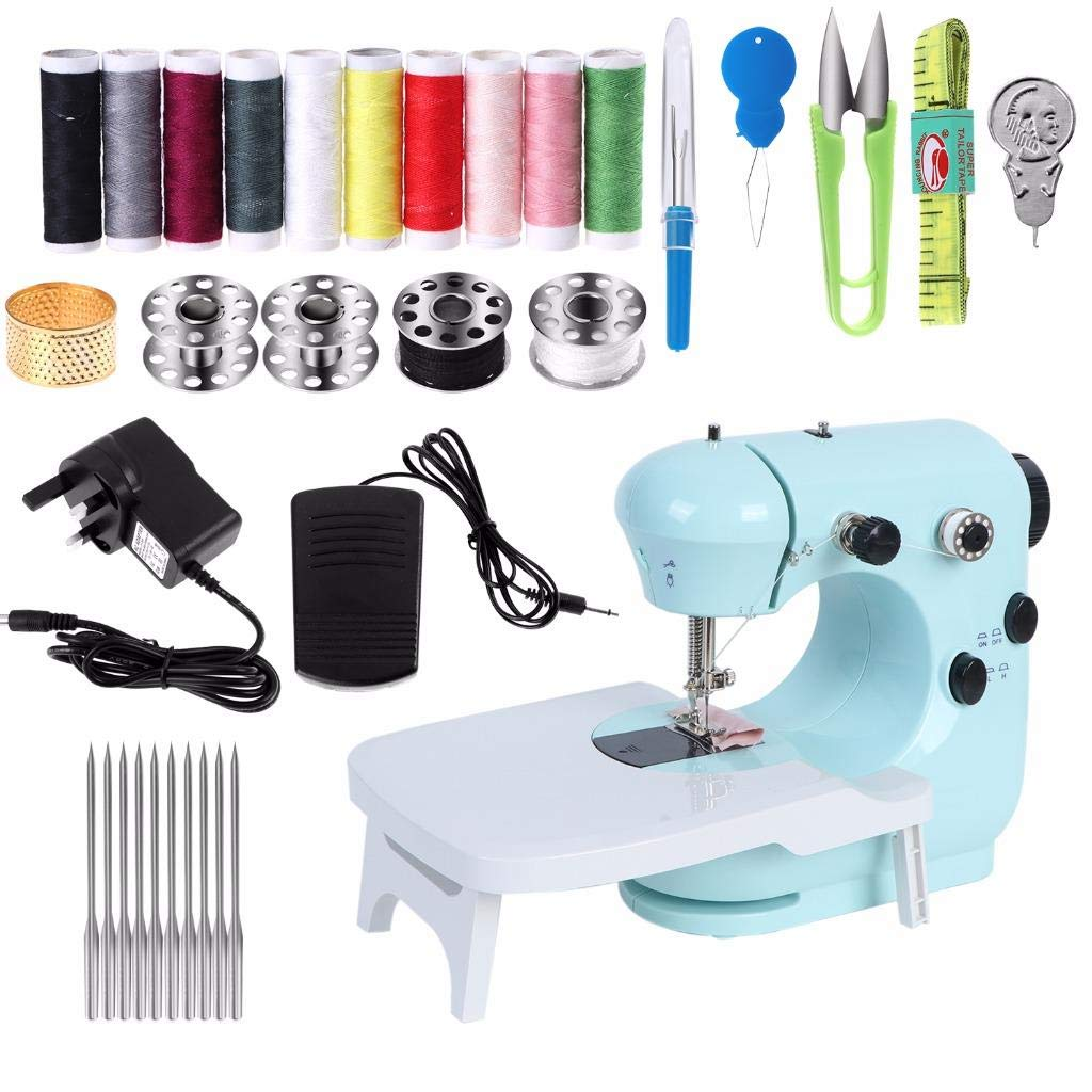 Mcree Mini Portable Sewing Machine With Expansion table, Hand & Foot Operate Models, DIY Mending Machine Household Sewing Handheld Tool For Adult for Fabric Clothing, Blue