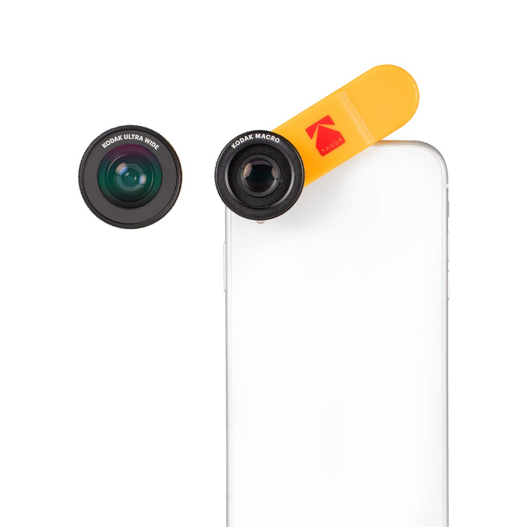 Kodak 2-in-1 Smartphone Lens Set Consisting of A 100° Wide Angle and 15X Macro Lens (Universal Clip Mount, Works with Multicams & Front Cameras) - KSM001