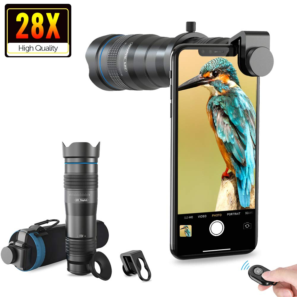 Apexel HD Cell Phone Lens-28X Telephoto Lens with Shutter for iPhone Samsung، Huawei، Xiaomi، Android Smartphone، Monocular Telescope