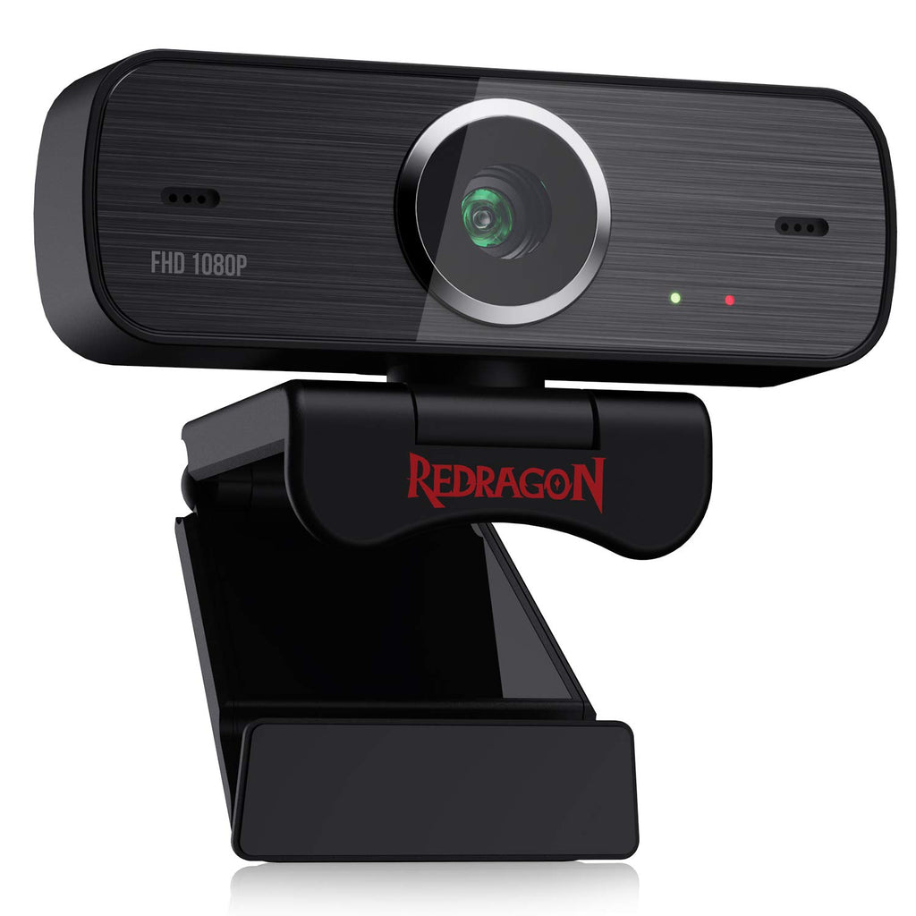 Redragon GW800 1080P Webcam with Built-in Dual Microphone, 360-Degree Rotation - 2.0 USB Skype Computer Web Camera - 30 FPS for Online Courses, Video Conferencing and Streaming
